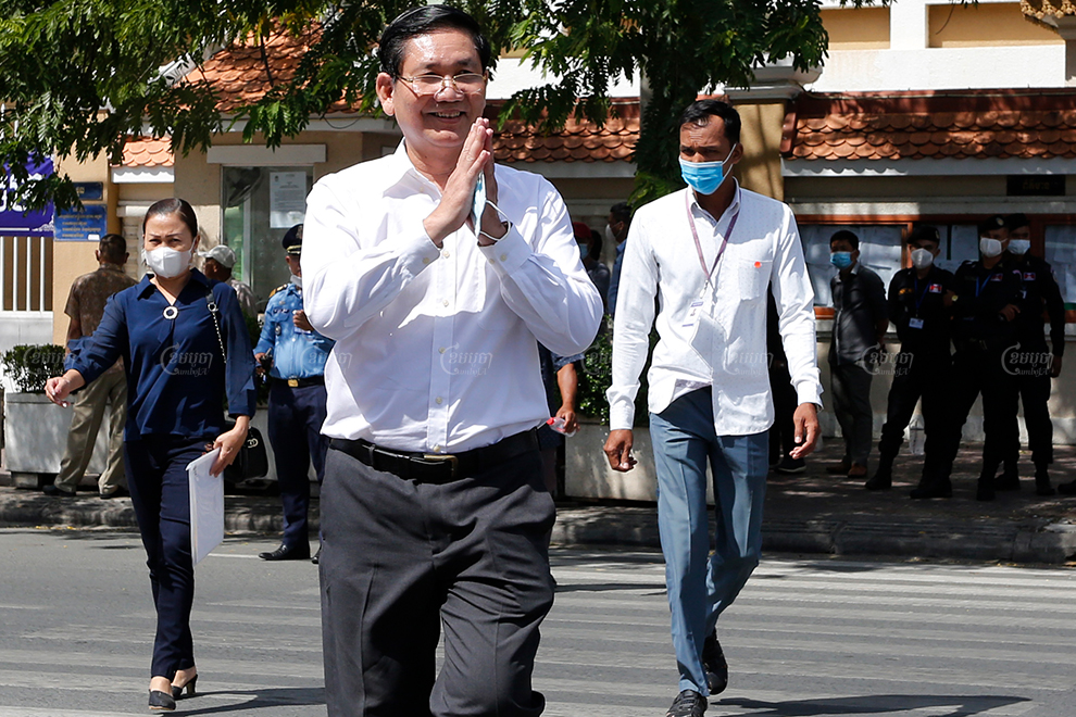 Former Sam Rainsy Party Senator Thach Setha leaves a Phnom Penh court on Thursday after trial proceedings against more than 130 people linked to the CNRP was delayed. Panha Chhorpoan