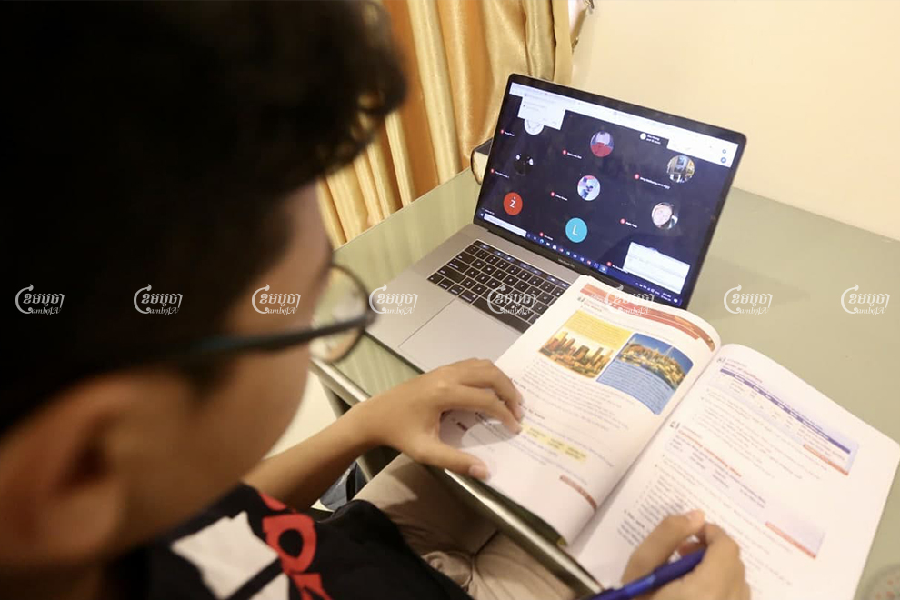 A student in Phnom Penh studies using a video conferencing application, as schools continue to remain closed on account of a new COVID-19 cluster.