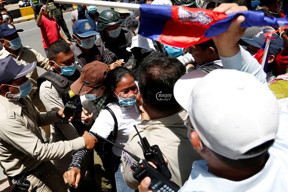 Security personnel block protests held by youth and environmental activists in Phnom Penh, following the arrest of unionist Rong Chhun. Panha Chhorpoan