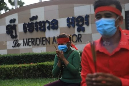 Workers protested outside the Le Meridien Angkor in Siem Reap in September after the hotel terminated three of their colleagues in July. Panha Chhorpoan