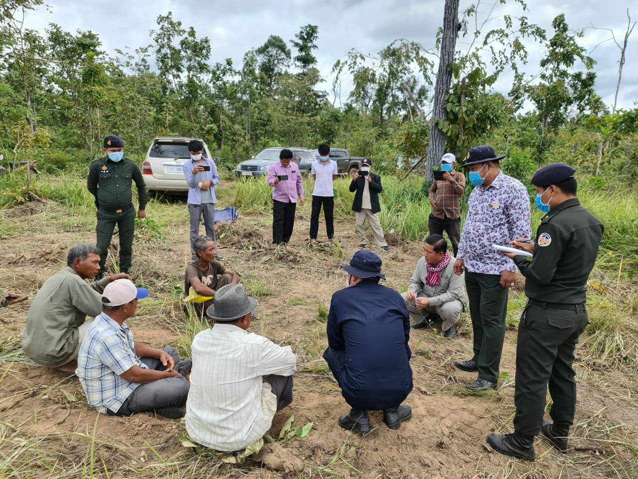 Kratie authorities investigate potential land clearing in the province on December 2, in relation to which three journalists were charged for extortion. Supplies