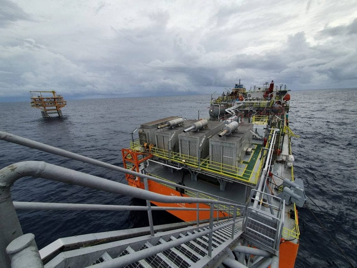 A view of oil extraction facilities being operated by KrisEnergy and the Cambodia government in the Gulf of Thailand. KrisEnergy