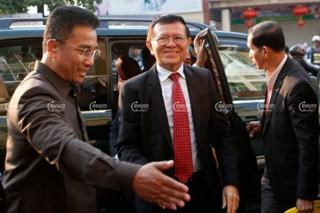 Former CNRP president Kem Sokha arrives at the Phnom Penh Municipal Court in February 2020. Panha Chhorpoan