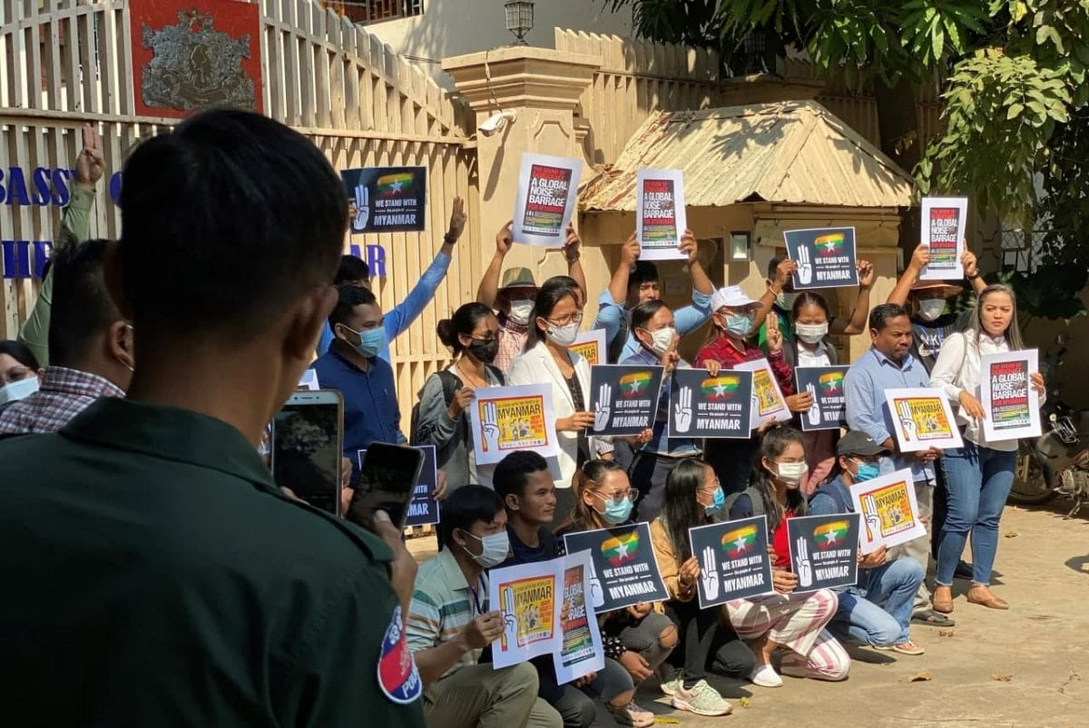 Cambodian civil society groups petitioned the Myanmar Embassy in Phnom Penh on Friday to restore democracy after the military coup earlier this month. Licadho