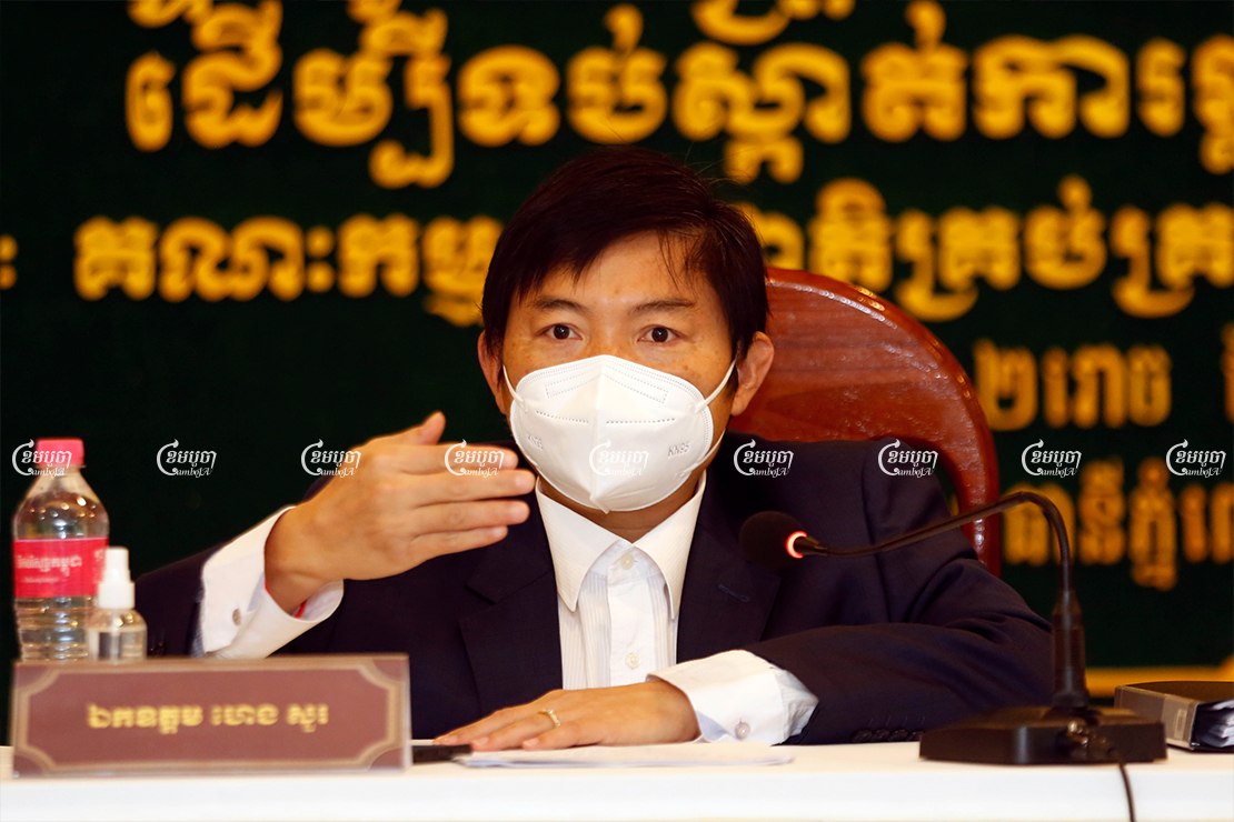 Labor Ministry spokesman Heng Sour speaks during an inter-ministerial press conference in Phnom Penh, April 28, 2021. CamboJA/ Panha Chhorpoan