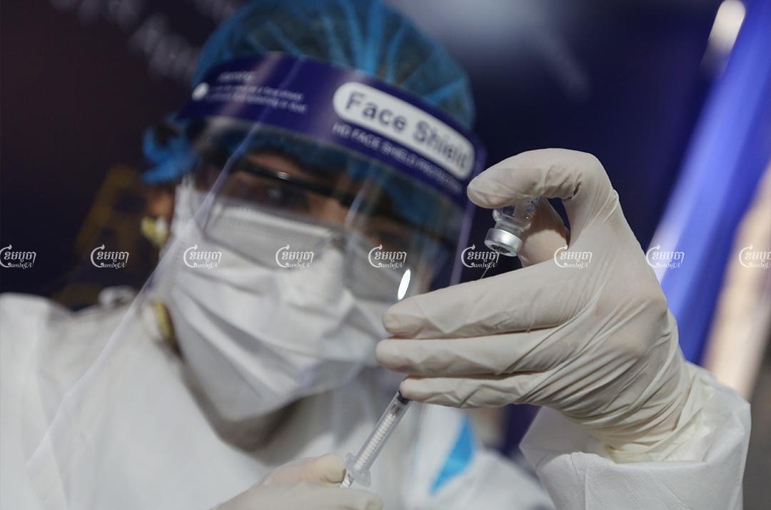 Medical staff prepare a second dose shot of the COVID-19 vaccine in Phnom Penh, April 20, 2021. CamboJA/ Pring Samrang
