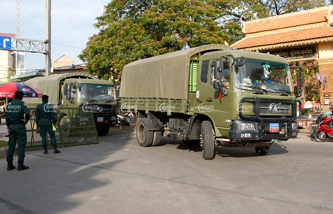 Militarily trucks transport food to a Stung Meanchey red zone, April 20, 2021. CamboJA/ Panha Chhorpoan