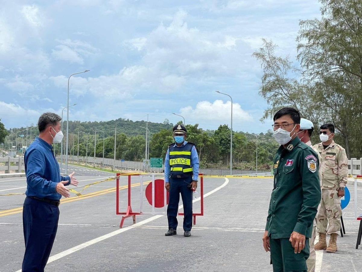 Kuoch Chamroeun, Preah Sihanouk provincial governor inspects barricades in Sihanoukville placed to prevent people from entering or leaving the locked down area, in a photo posted on the provincial administration's Facebook page, April 23, 2021.