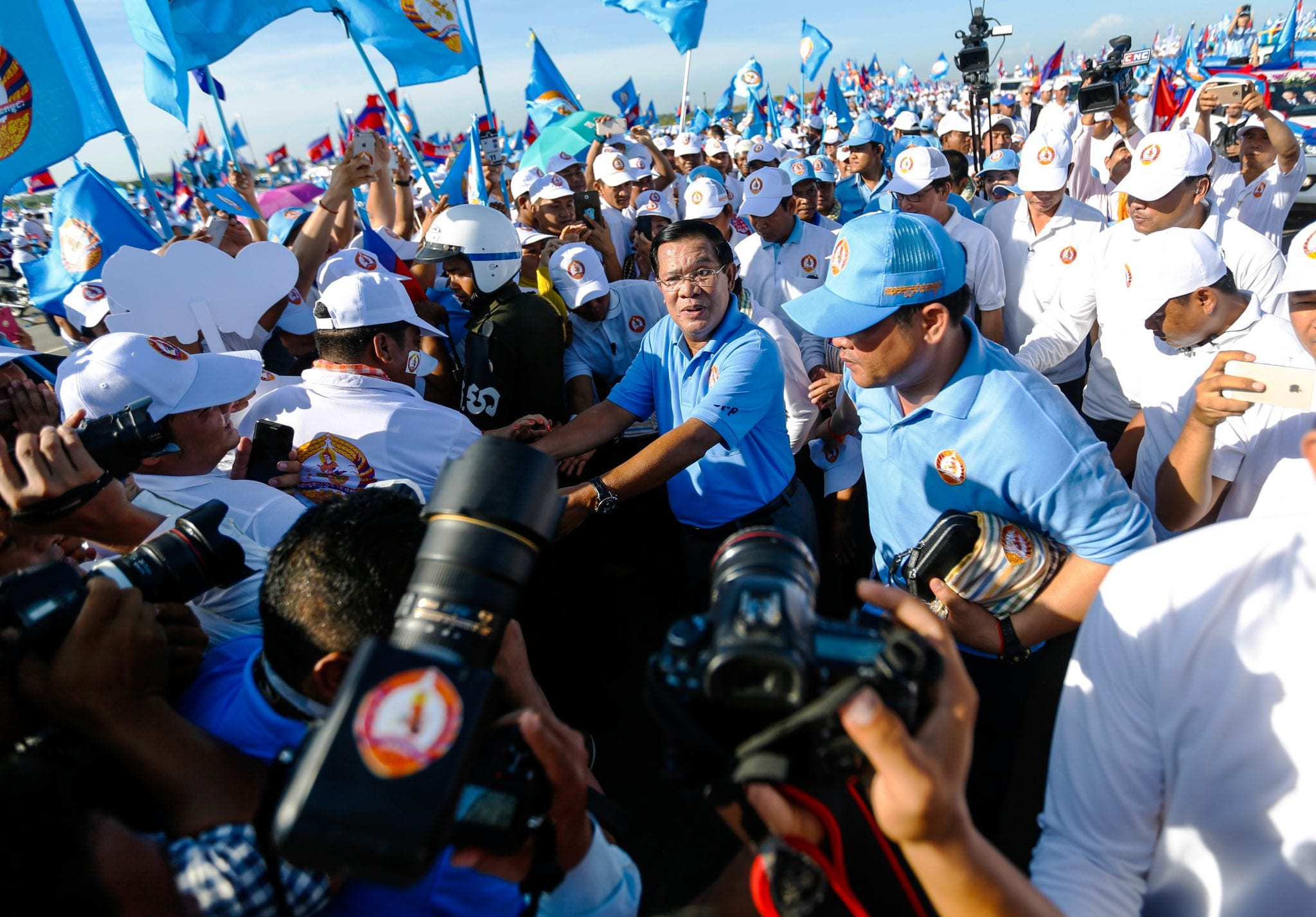 Prime Minister Hun Sen joins a CPP party rally in June 2017. CamboJA