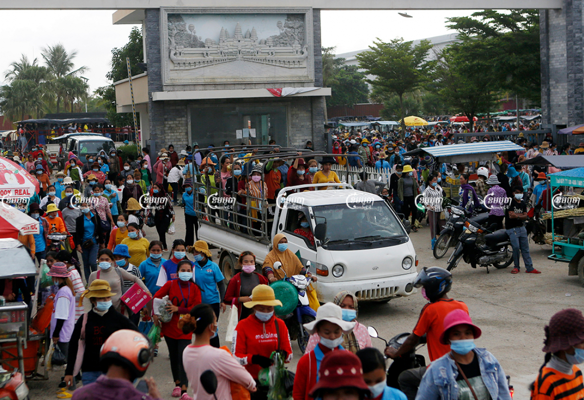 Garment workers leave a factory after finishing their work in Kampong Speu province, May 6, 2021. CamboJA/ Panha Chhorpoan