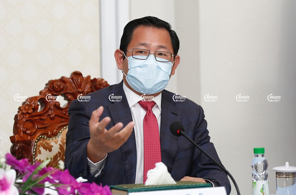 Minister of Justice Koeut Rith speaks during a press conference launching the law on COVID-19, March 15, 2021. CamboJA/ Panha Chhorpoan