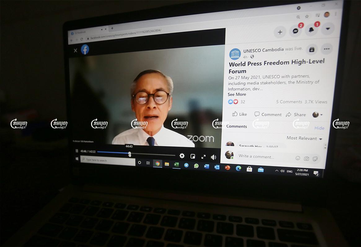 UN special envoy Vitit Muntarbhorn speaks at a high-level webinar on press freedom, Phnom Penh, May 27, 2021. CamboJA/ Pring Samrang