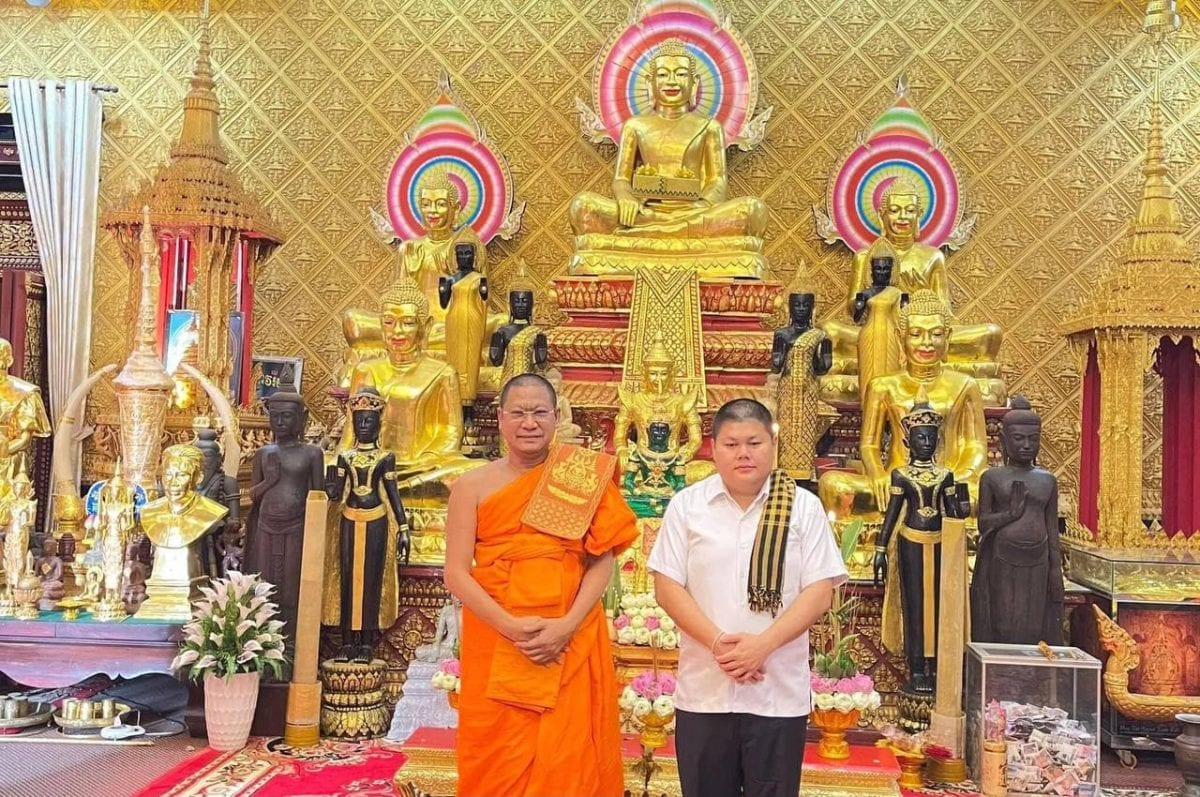 A picture posted on Facebook by former Oknha Duong Chhay, wearing a white shirt and black pants, to declare he had left the monkhood on May 17.