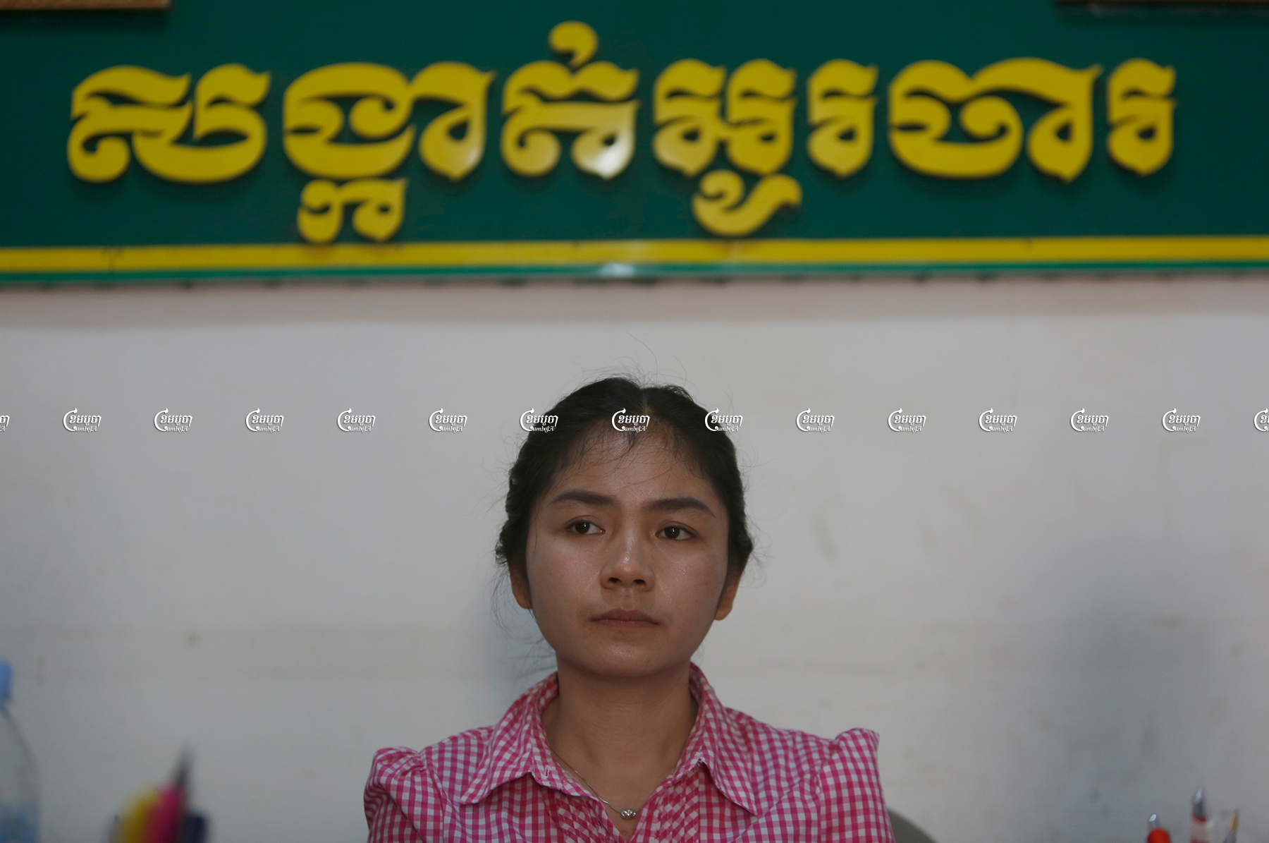 Sin Chan Pov Rozeth, the former chief of O'Cha commune in Battambang province, told CamboJA women face several barriers to political activity. A member of the CNRP before the party was forcibly dissolved, she is pictured here in her office on October 11, 2017. CamboJA/ Pring Samrang