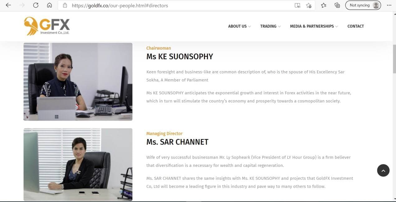 A screenshot taken from GoldFX's website listing Ke Suonsophy and Sar Channet as the company's chairwoman and managing director, respectively. The site was later taken down.