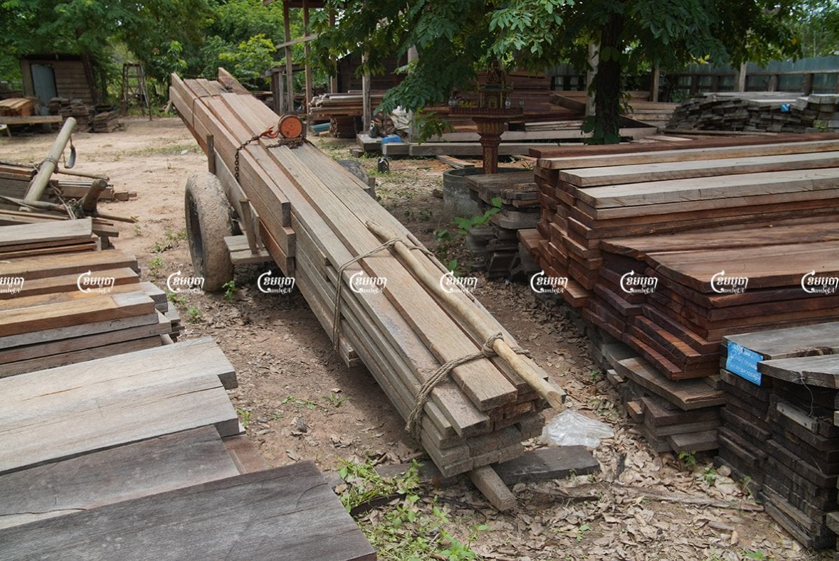A pile of confiscated wood at Prey Preah Roka-Chhaep Wildlife Sanctuary in Preah Vihear. Picture taken on June 2021.CamboJA/ Panha Chhorpoan