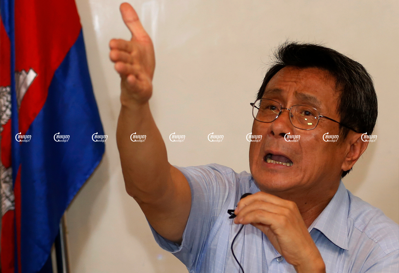 Former president of Adhoc, Thun Saray, speaks during a press conference in Phnom Penh, Picture taken on April 26, 2016. CamboJA/ Panha Chhorpoan