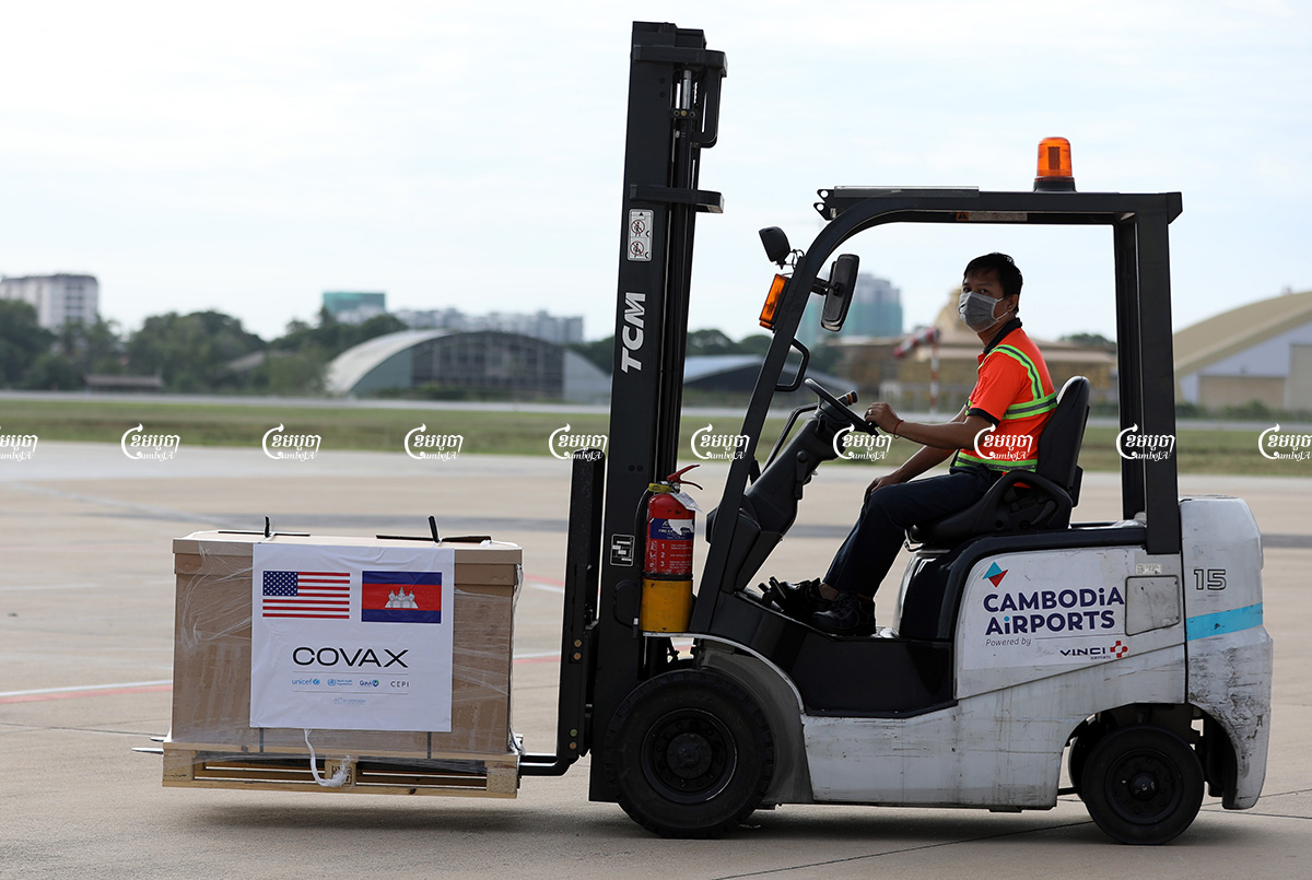 The Johnson&Johnson COVID-19 vaccines donated by the US to Cambodia through the international COVAX mechanism arrive at Phnom Penh International airport, July 30, 2021. CamboJA/ Pring Samrang