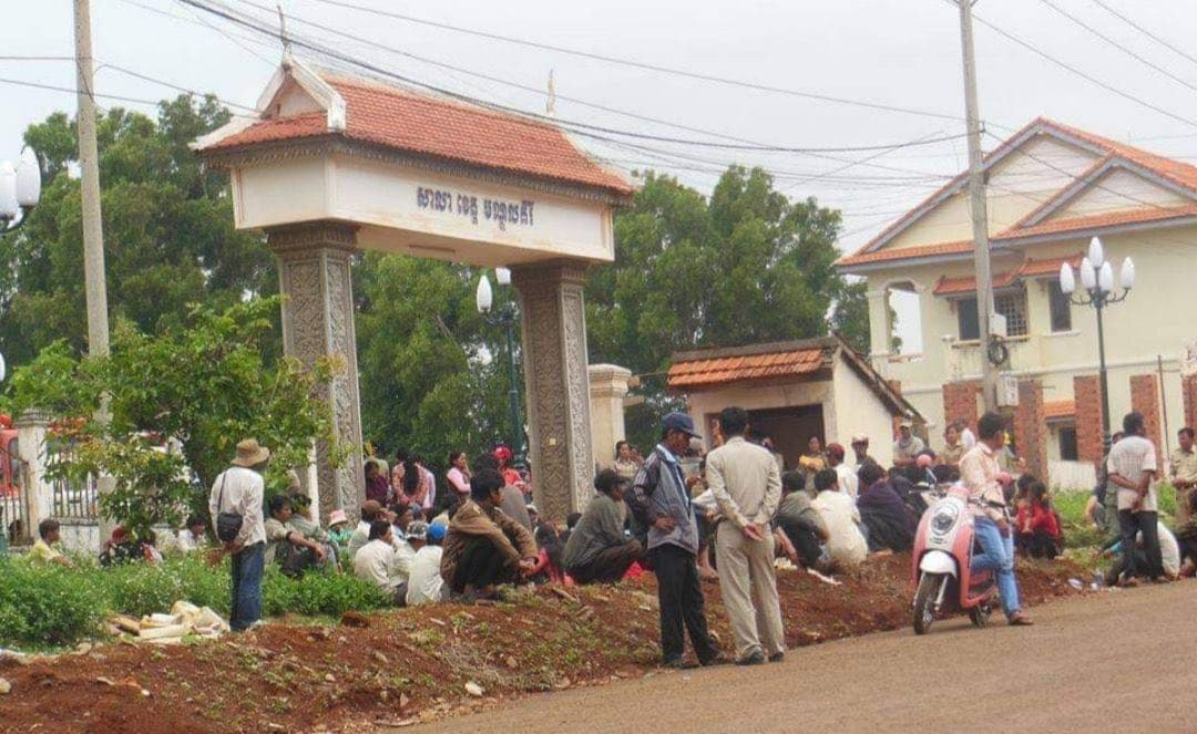 Members of the Bunong indigenous minority gathered in front of the Mondulkriri provincial hall in 2009 to seek intervention in their land dispute with French-funded firm Socfin-KCD. Supplied