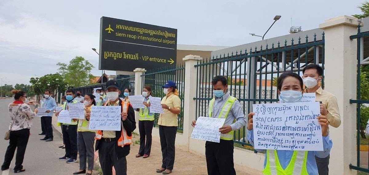 Former Siem Reap airport staff protested in front of the airport to demand compensation on July 23. CTWF