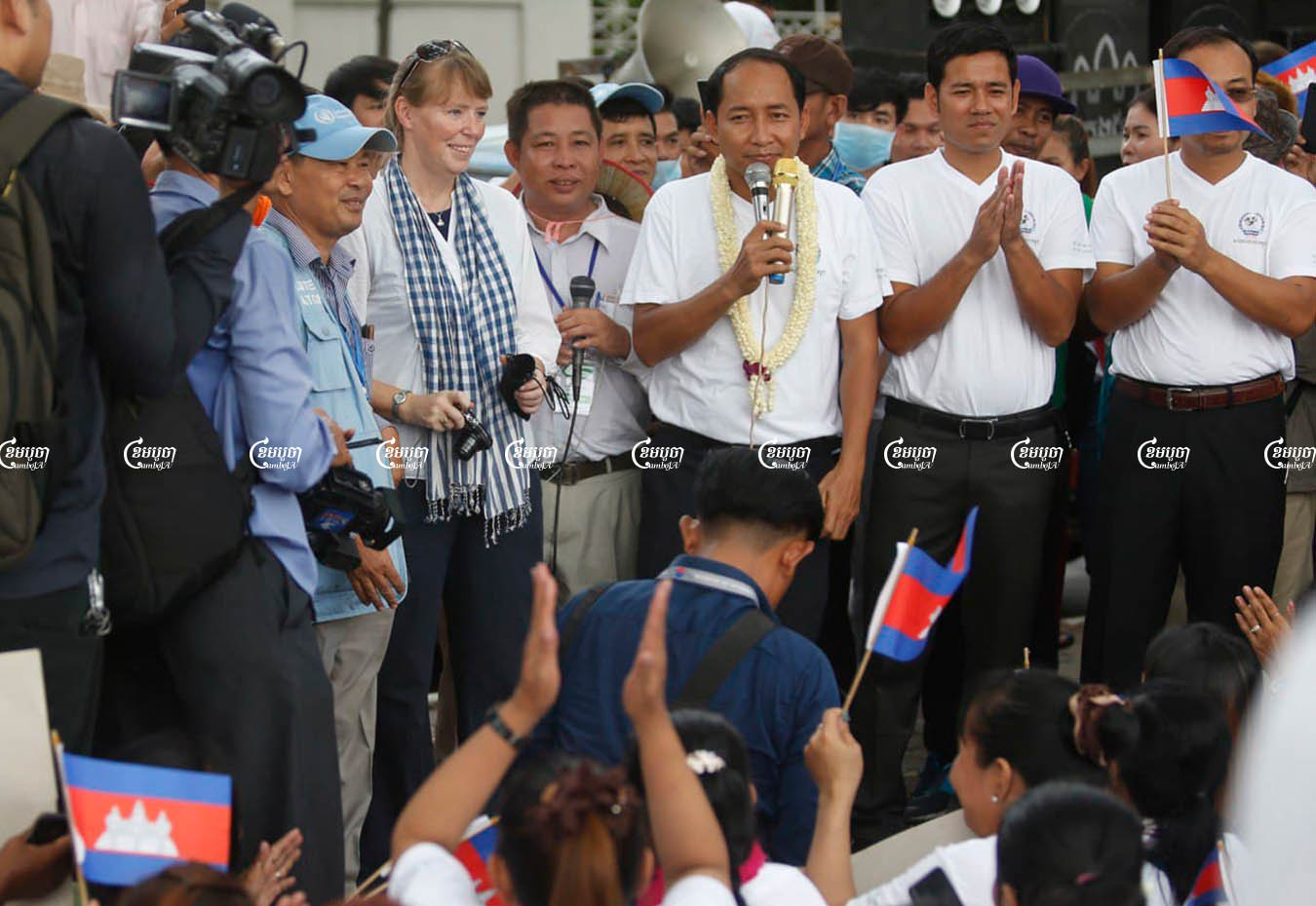 Ath Thorn, president of the Cambodian Labor Confederation speaks to workers during the Labor Day celebration in Phnom Penh, Picture taken on May 1, 2019. CamboJA/ Pring Samrang