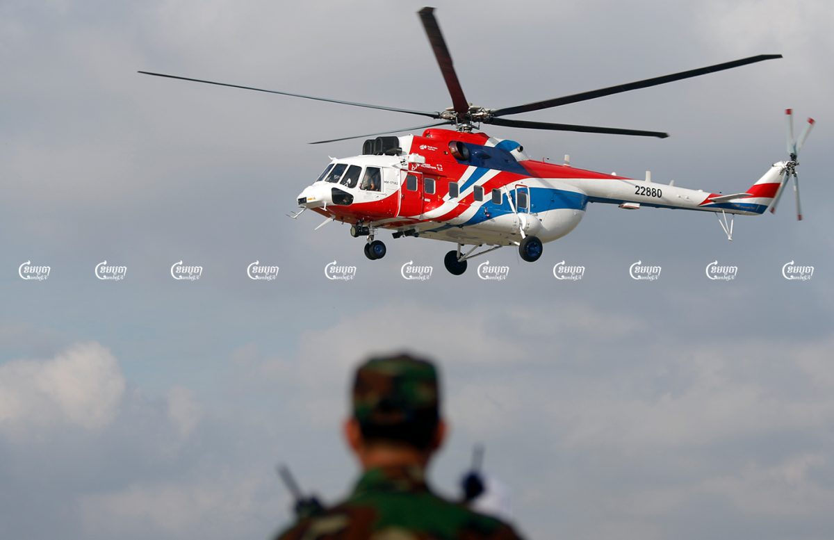 Russian helicopters are shown at the Cambodian Air Force base in Phnom Penh during an exhibition, Picture taken on November 20, 2018. CamboJA/ Pring Samrang