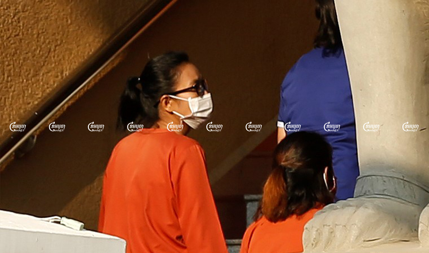 Youth activist Sar Kanika arrives at the Phnom Penh Municipal Court on January 15 to attend the start of an incitement trial involving her, Rong Chhun and Ton Nimol. CamboJA/ Panha Chhorpoan