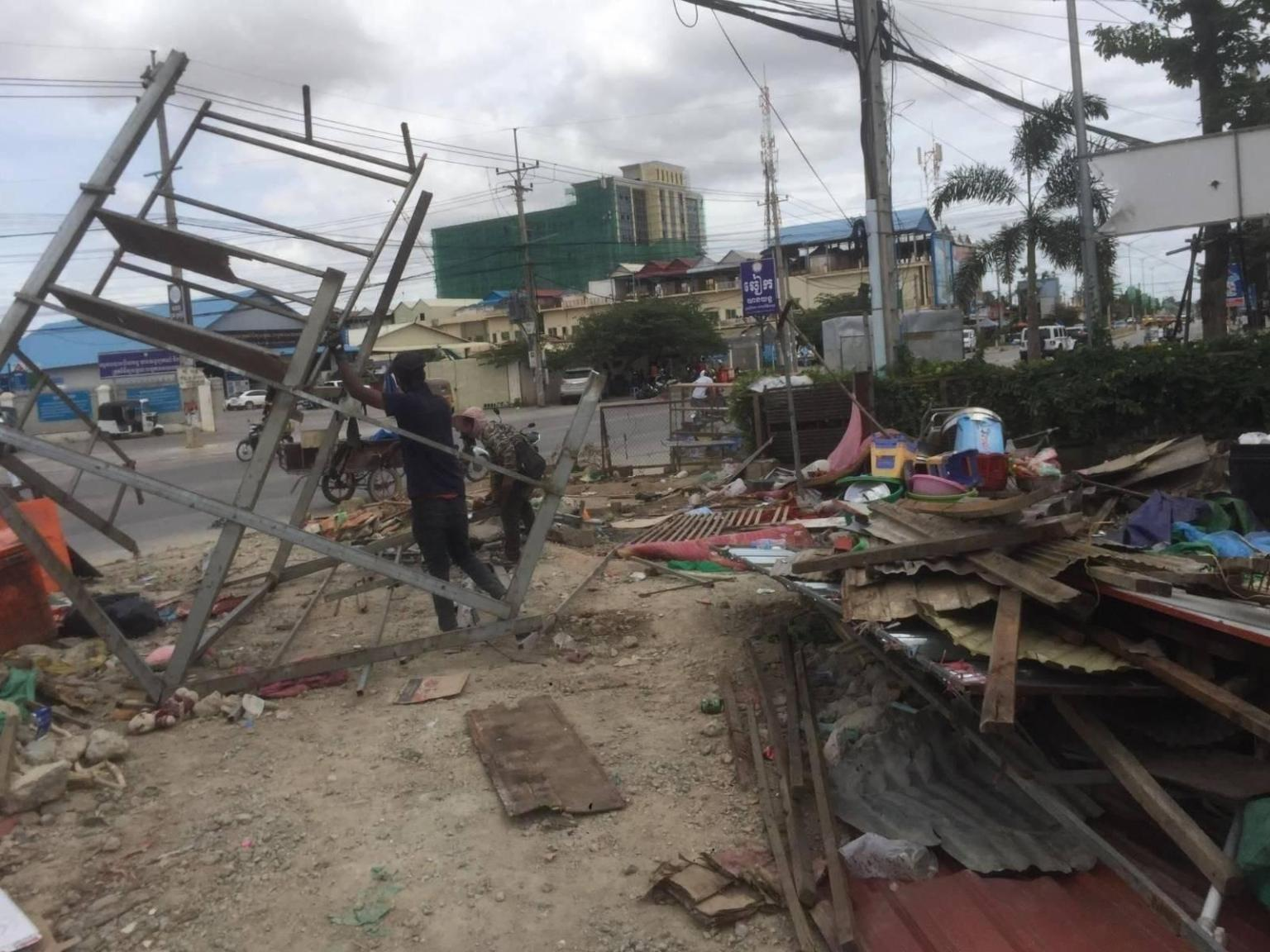 Russei Keo district authorities demolished homes on August 19 in the lake area Boeung Chhouk community. Photo originally posted by rights group Sahmakun Teang Tnaut.