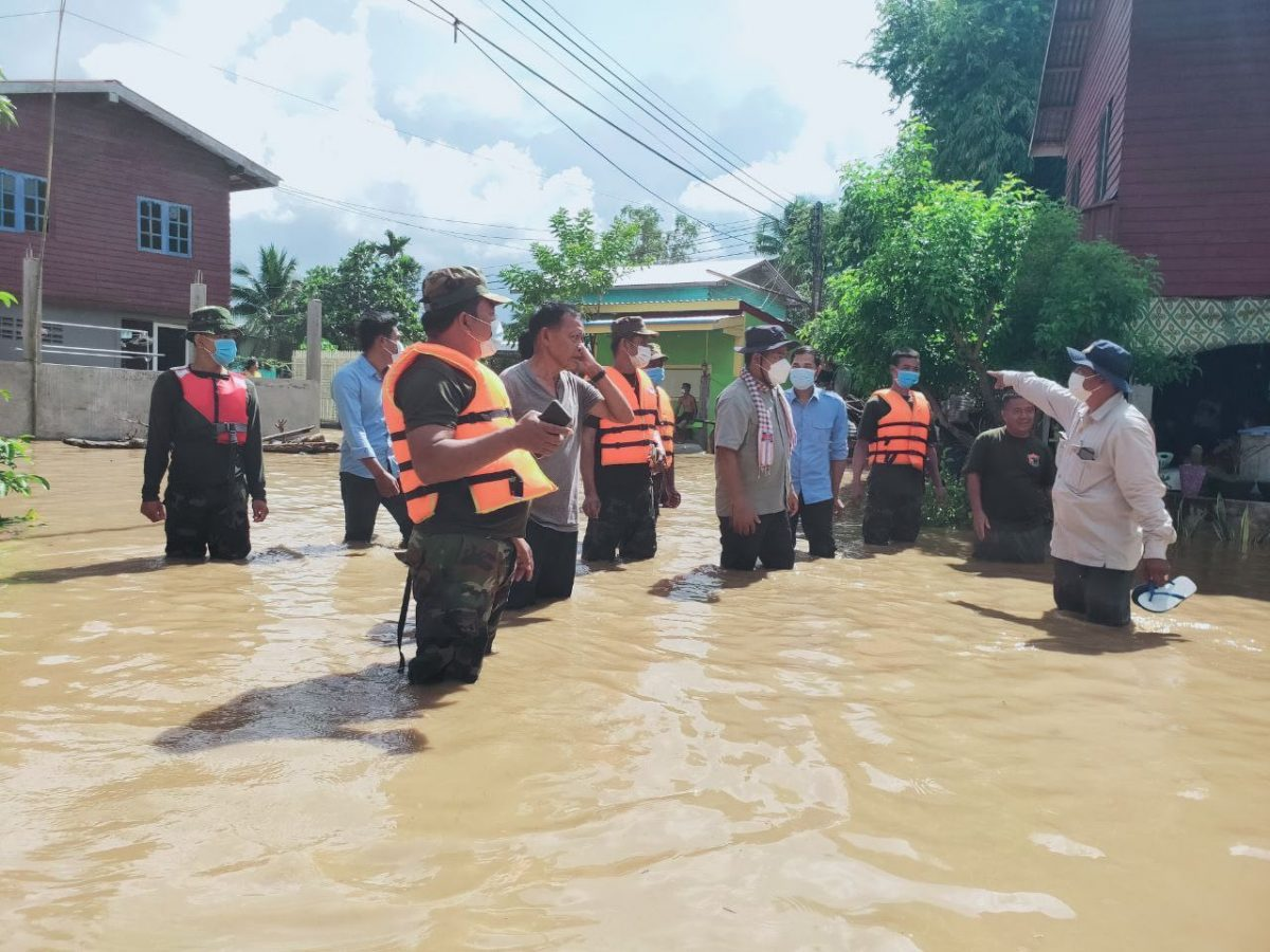 Authorities patrol a flooded area in Malai district in Banteay Meanchey province. Picture taken on September 1, 2021. Photo supplied.