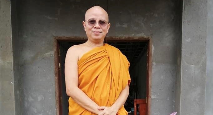 Defrocked Chief Monk Pang Soda in front of a monks' house in Kirivongkot Boreyserey Phnom Penh pagoda, in a photo posted on his Facebook page on August 25, 2021.