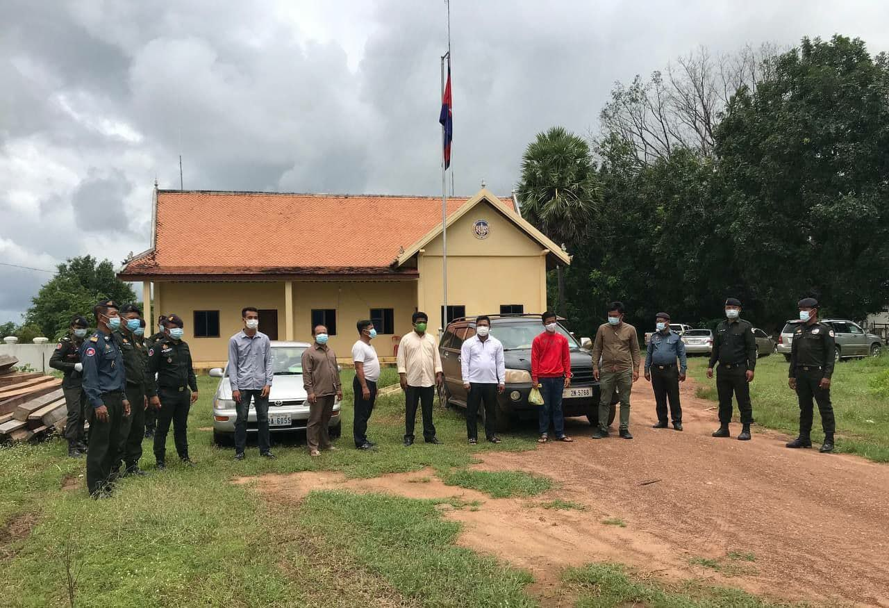Arrested journalists are sent to Stung Treng provincial military police headquarter for questioning over accusations of extortion on September 7. Photo supplied