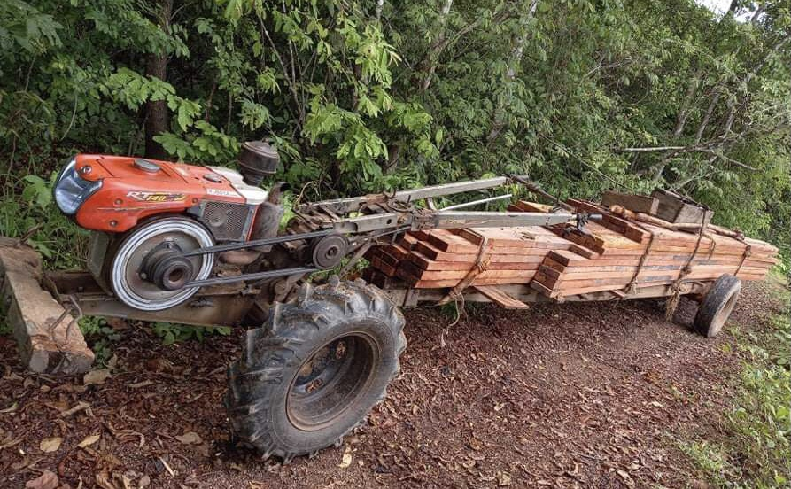 A homemade truck carrying timber found by the Prey Lang Community Network during a patrol in 2020. Supplied
