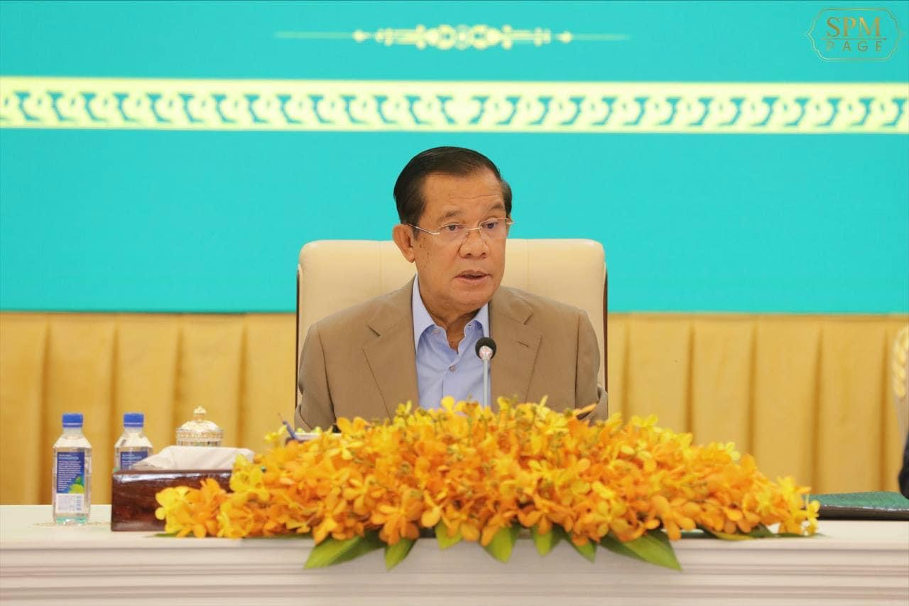 Prime Minister Hun Sen speaks at the start of the 6-12 year-old vaccination campaign at the Peace Palace on September 17, 2021, photo posted on his Facebook page.
