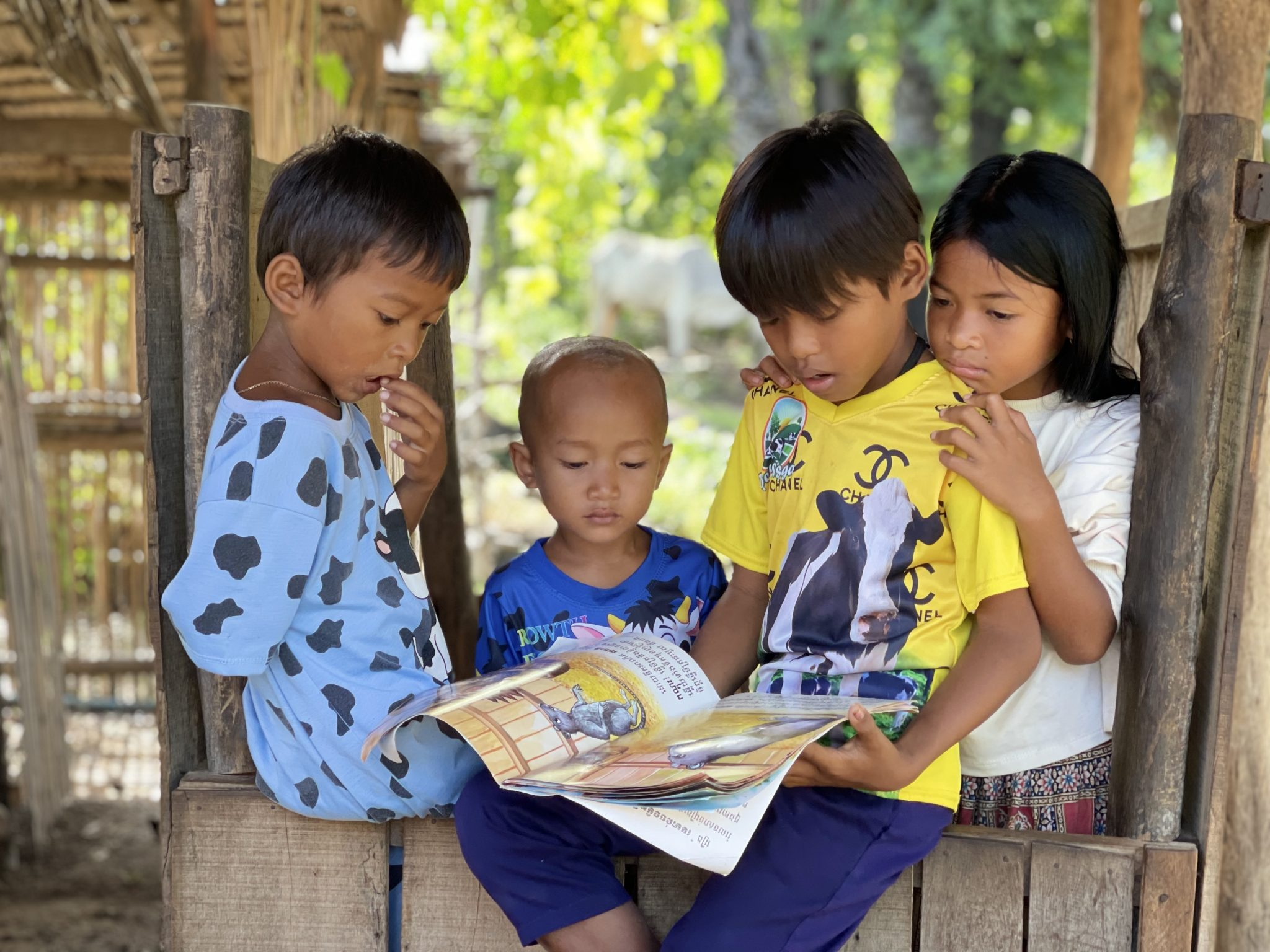 Children in the Baset district of Kampong Speu province read books borrowed from mobile libraries operated by the NGO World Vision. Photo taken September 7. World Vision