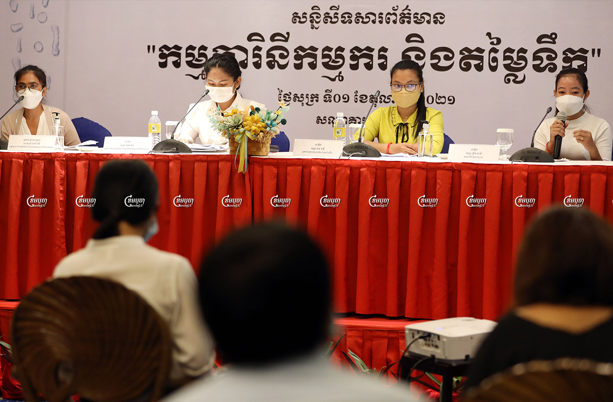 A garment worker speaks during a press conference about water prices for garment workers living at rental houses in Phnom Penh, October 1, 2021. CamboJA/ Pring Samrang