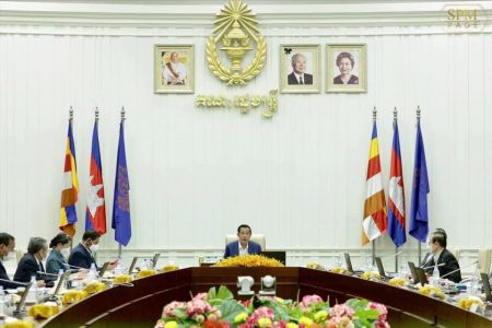Cambodian Prime Minister Hun Sen speaks during a meeting at the Office of the Council of Ministers in Phnom Penh, October 8, 2021. Picture via SPM