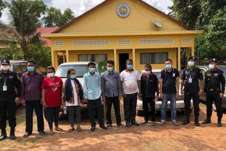 Eight journalists were convicted Thursday of extortion and sentenced to imprisonment after taking photos in a private area of a timber warehouse in June in Preah Vihear. Photo credited by The Association of Freedom for Cambodian Journalists