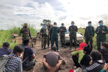 A border protection police battallion based in the Kamrieng district of Battambang province on October 16 arrested the organizer of a group of migrant workers who allegedly attempting illegal crossings into Thailand. Photo sourced from the battallion's Facebook page.